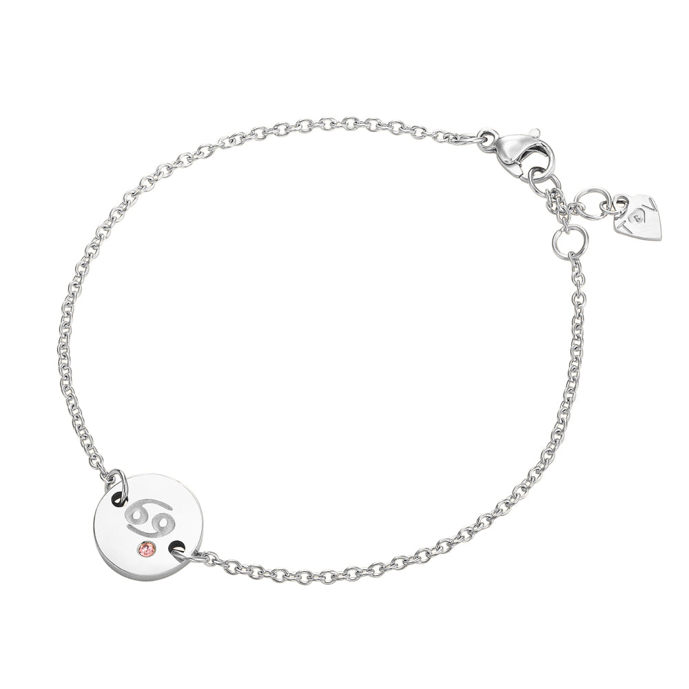 Taylor and Vine Star Signs Cancer Silver Bracelet with Birth Stone 1