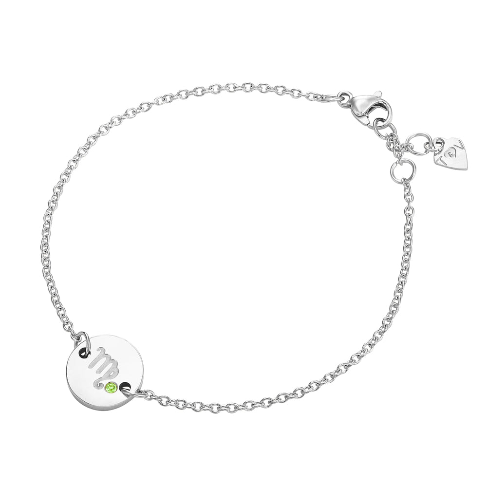 Taylor and Vine Star Signs Virgo Silver Bracelet with Birth Stone 1