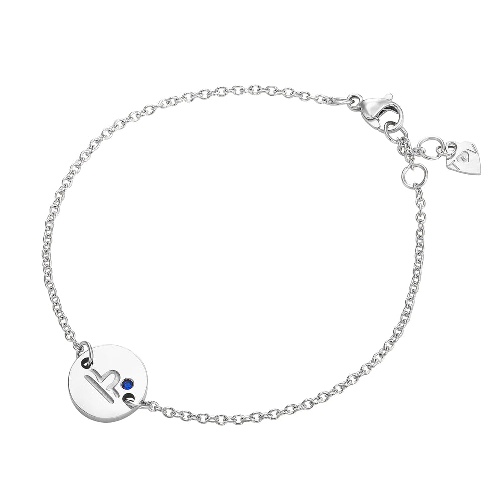 Taylor and Vine Star Signs Libra Silver Bracelet with Birth Stone 1