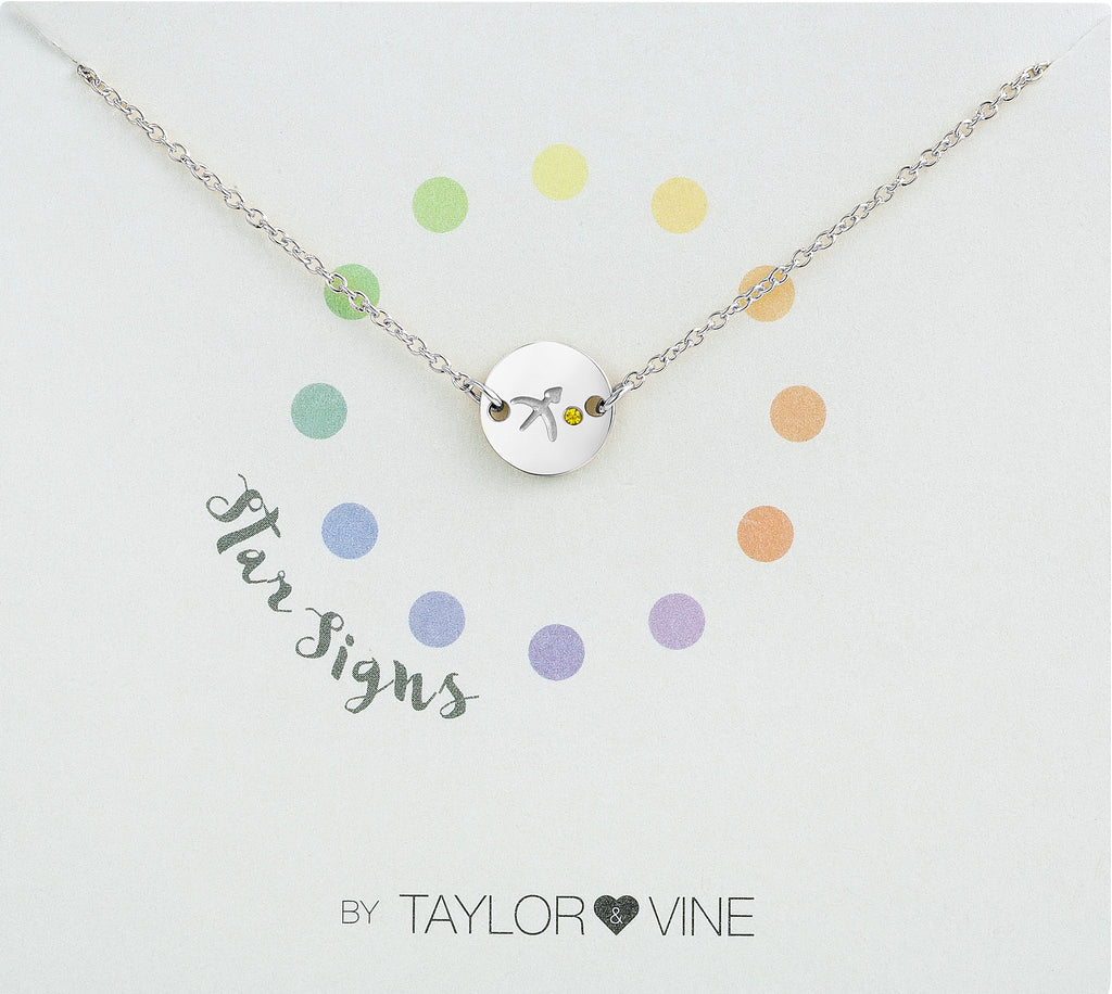 Taylor and Vine Star Signs Sagittarius Silver Bracelet with Birth Stone
