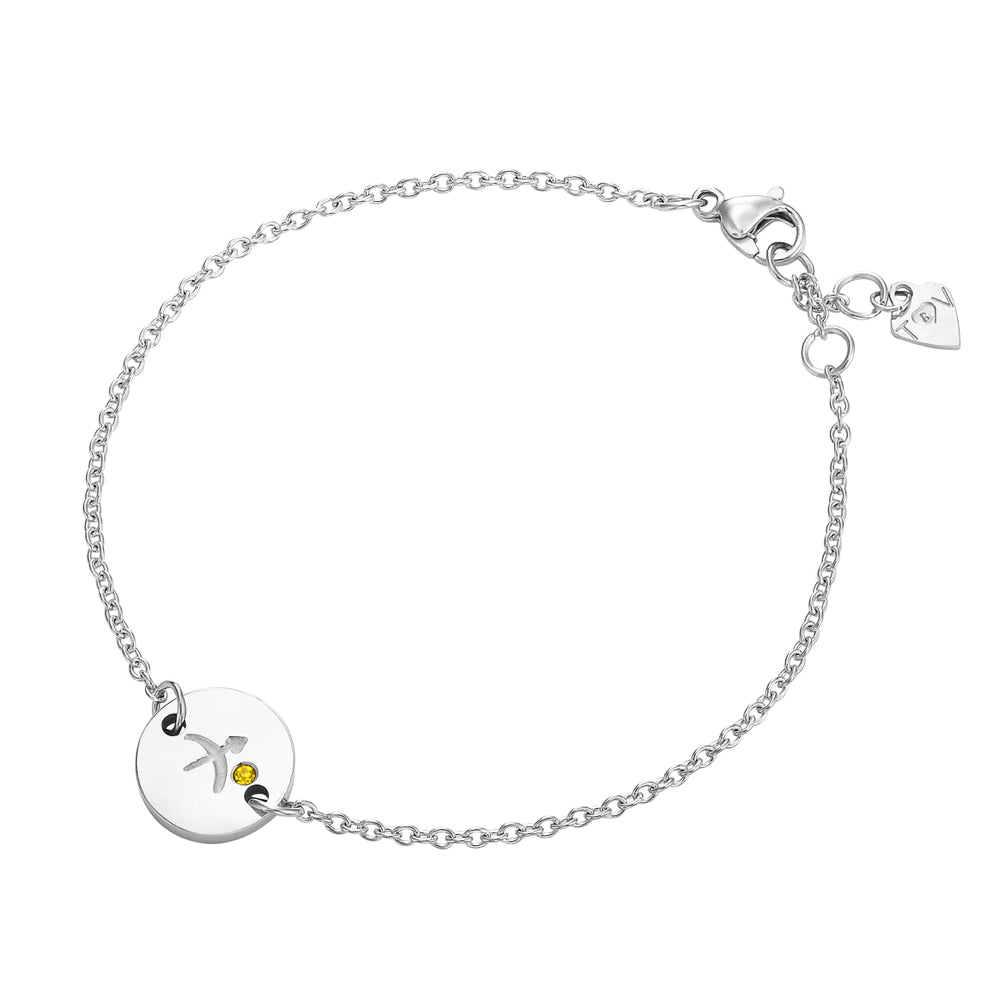 Taylor and Vine Star Signs Sagittarius Silver Bracelet with Birth Stone 1