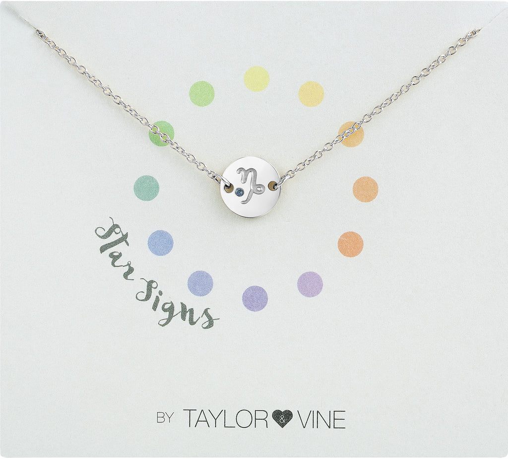 Taylor and Vine Star Signs Capricorn Silver Bracelet with Birth Stone