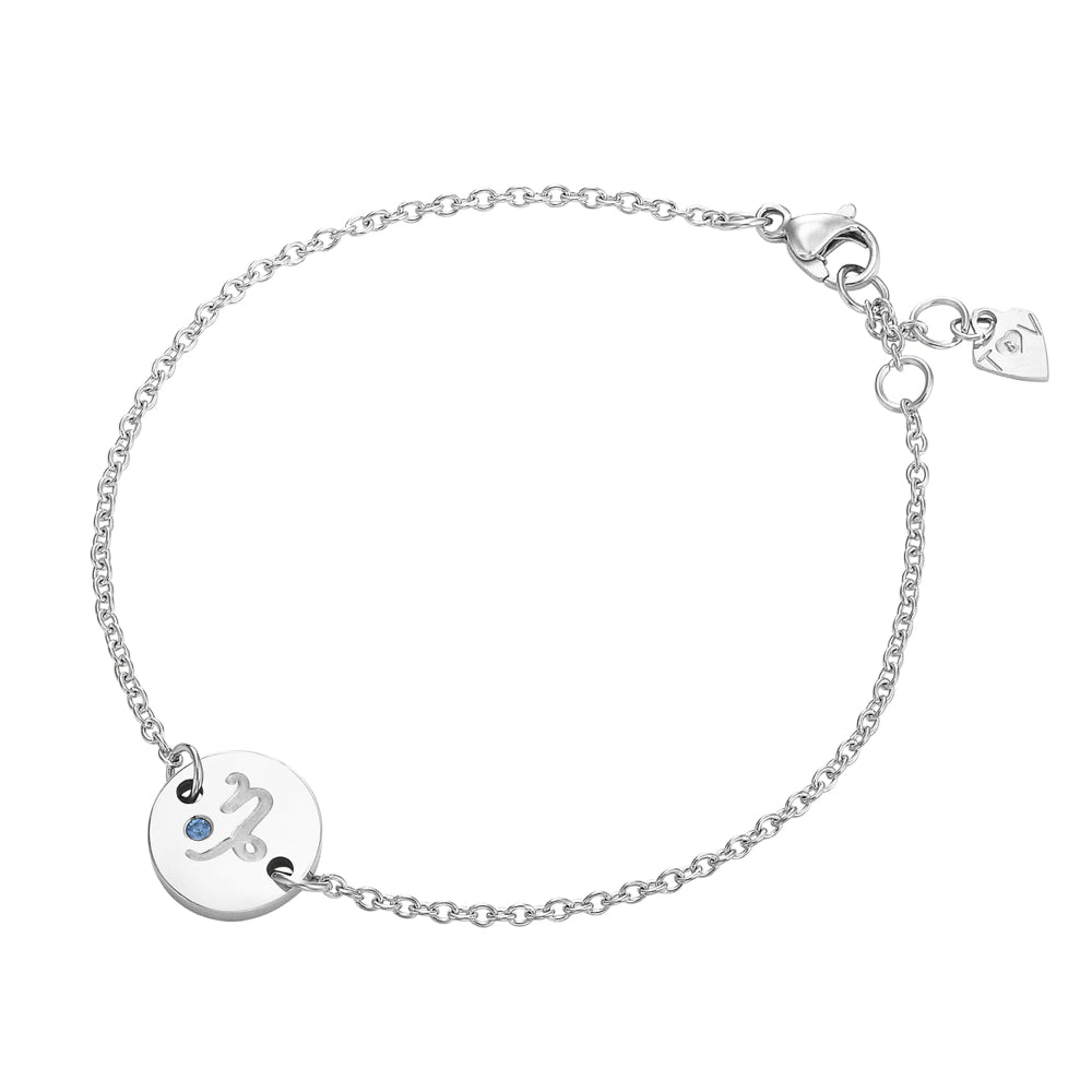 Taylor and Vine Star Signs Capricorn Silver Bracelet with Birth Stone 1