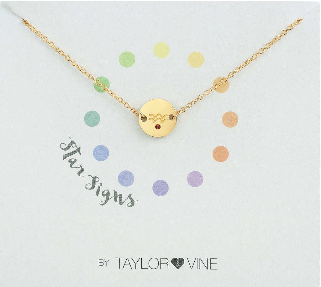 Taylor and Vine Star Signs Aquarius Gold Bracelet with Birth Stone