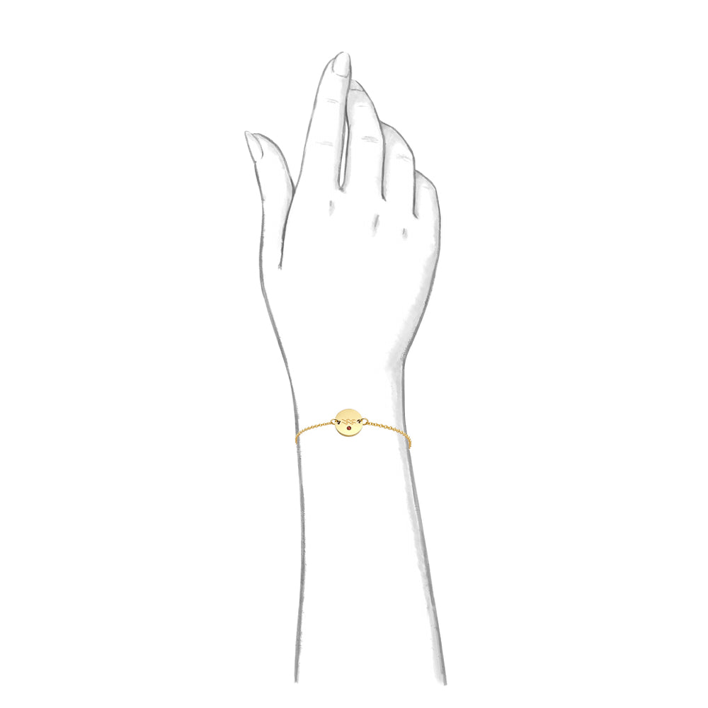 Taylor and Vine Star Signs Aquarius Gold Bracelet with Birth Stone 2