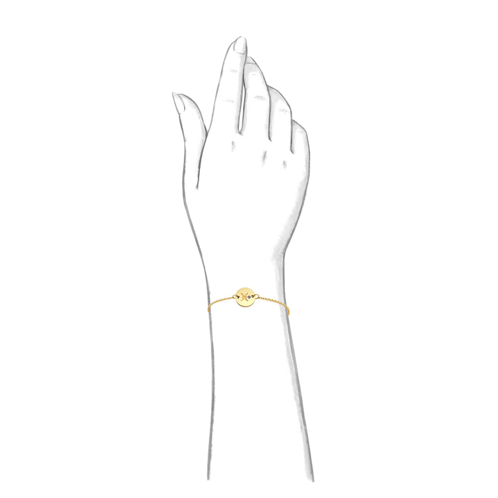 Taylor and Vine Star Signs Pisces Gold Bracelet with Birth Stone 1