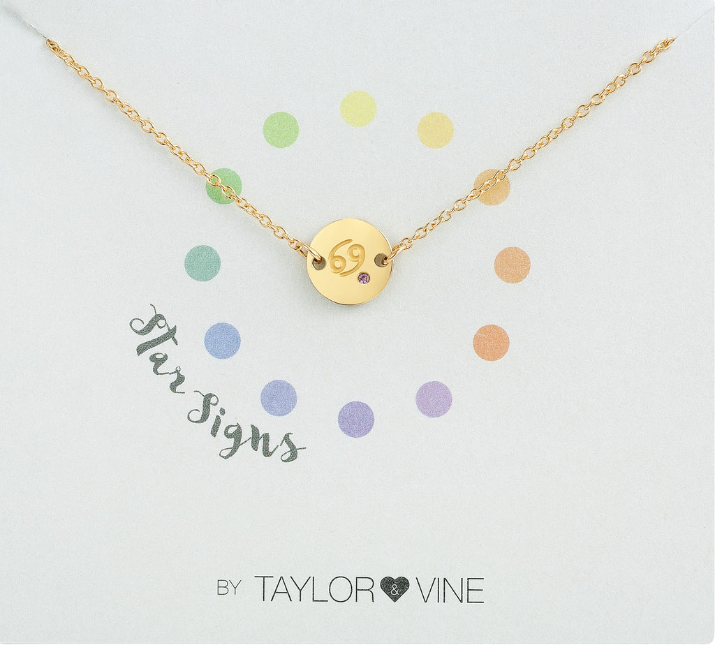 Taylor and Vine Star Signs Cancer Gold Bracelet with Birth Stone