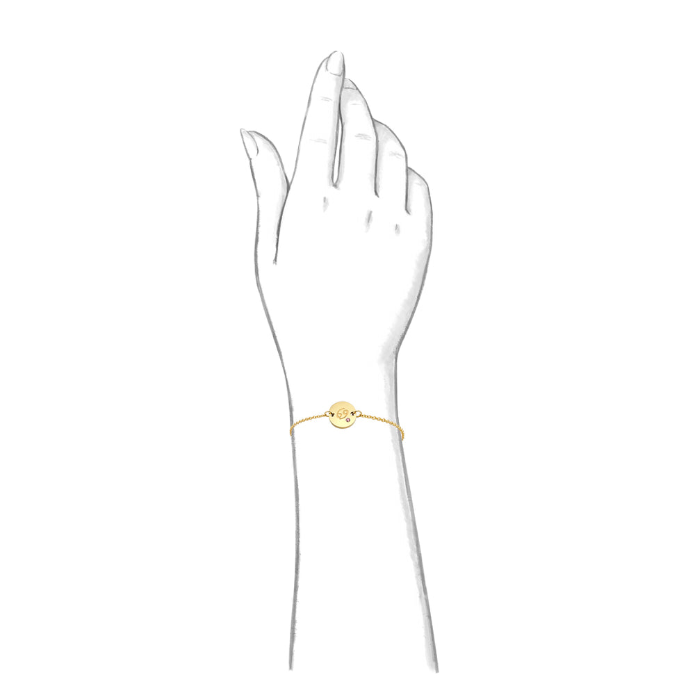 Taylor and Vine Star Signs Cancer Gold Bracelet with Birth Stone 2