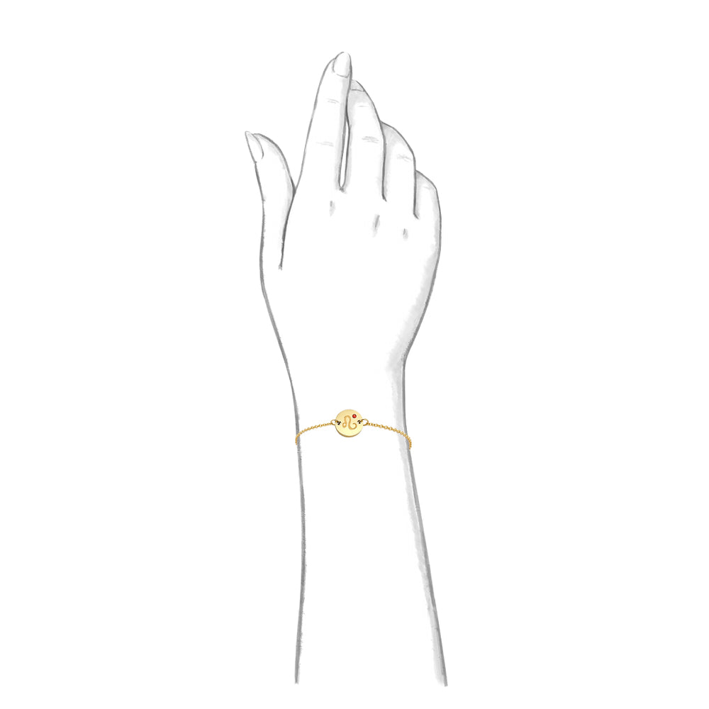Taylor and Vine Star Signs Leo Gold Bracelet with Birth Stone 2