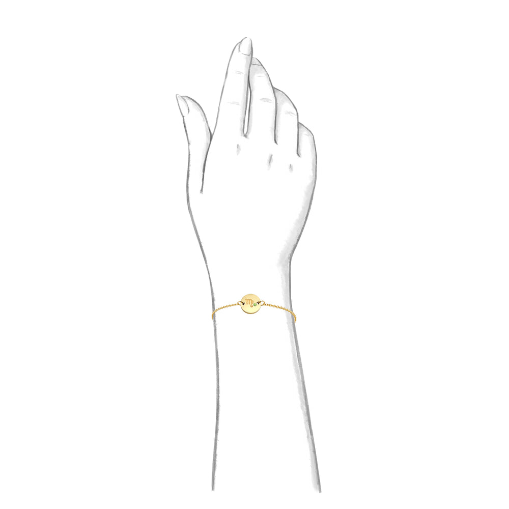 Taylor and Vine Star Signs Virgo Gold Bracelet with Birth Stone 2