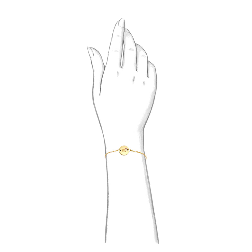 Taylor and Vine Star Signs Scorpio Gold Bracelet with Birth Stone 2