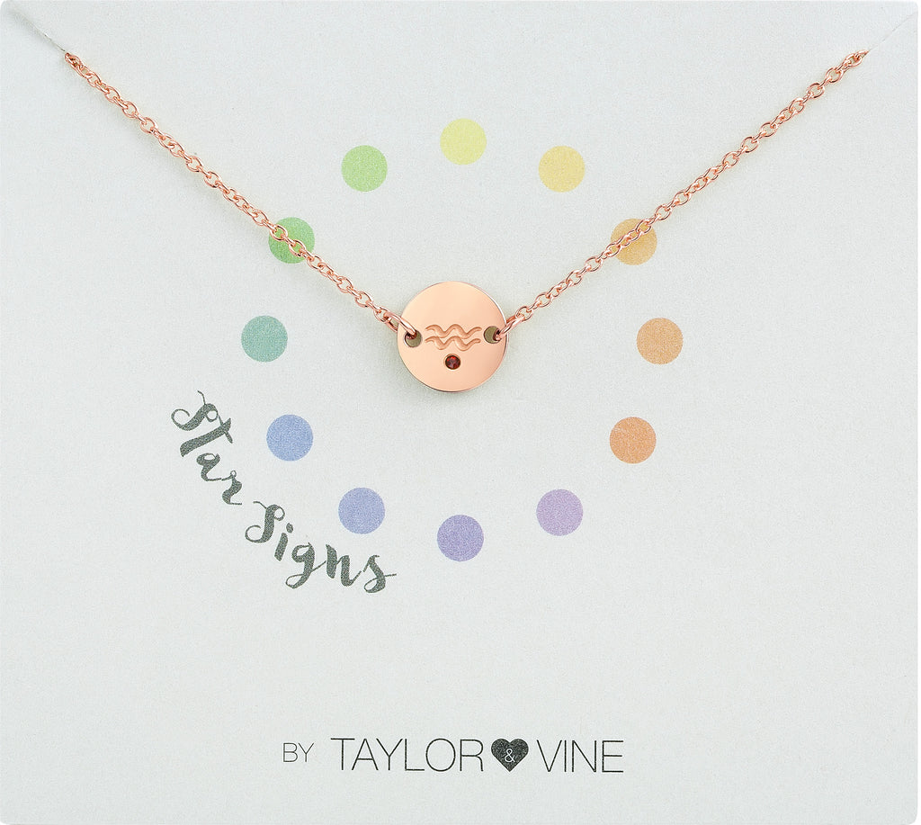 Taylor and Vine Star Signs Aquarius Rose Gold Bracelet with Birth Stone