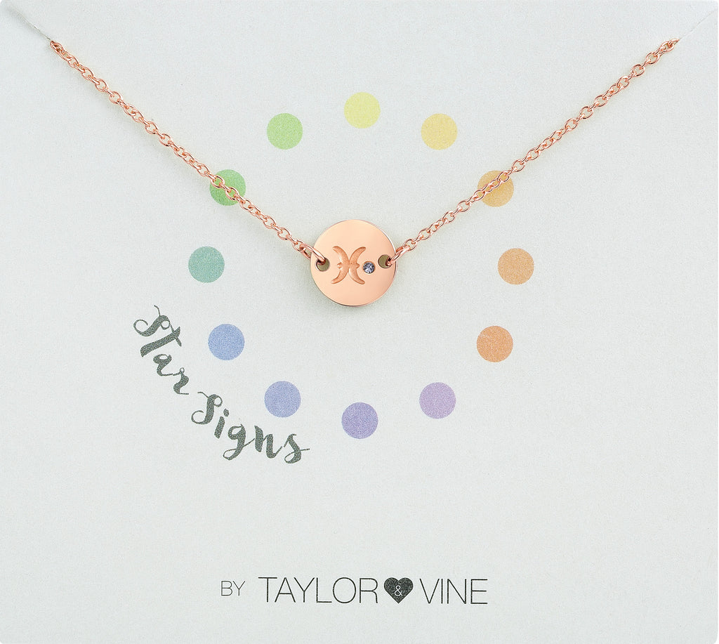 Taylor and Vine Star Signs Pisces Rose Gold Bracelet with Birth Stone