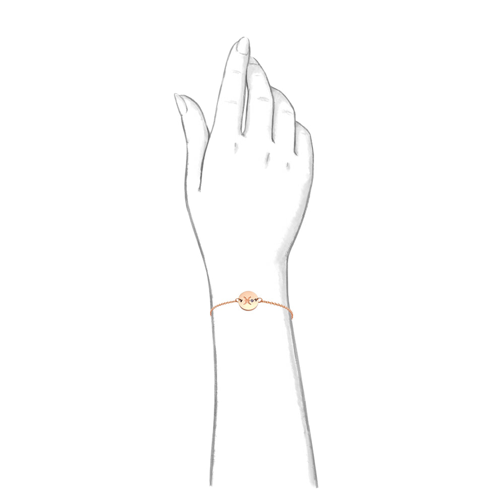 Taylor and Vine Star Signs Pisces Rose Gold Bracelet with Birth Stone 2