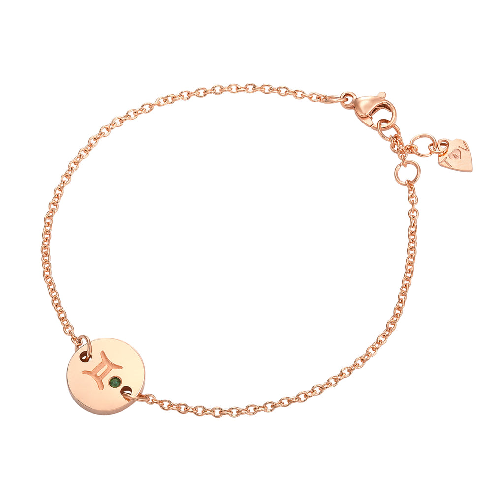 Taylor and Vine Star Signs Gemini Rose Gold Bracelet with Birth Stone 1