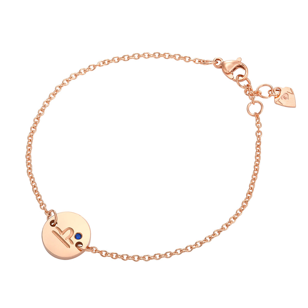 Taylor and Vine Star Signs Libra Rose Gold Bracelet with Birth Stone 1
