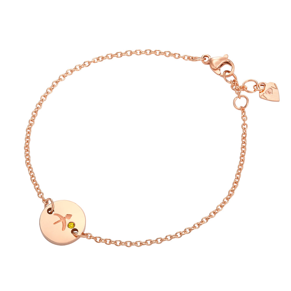 Taylor and Vine Star Signs Sagittarius Rose Gold Bracelet with Birth Stone 1