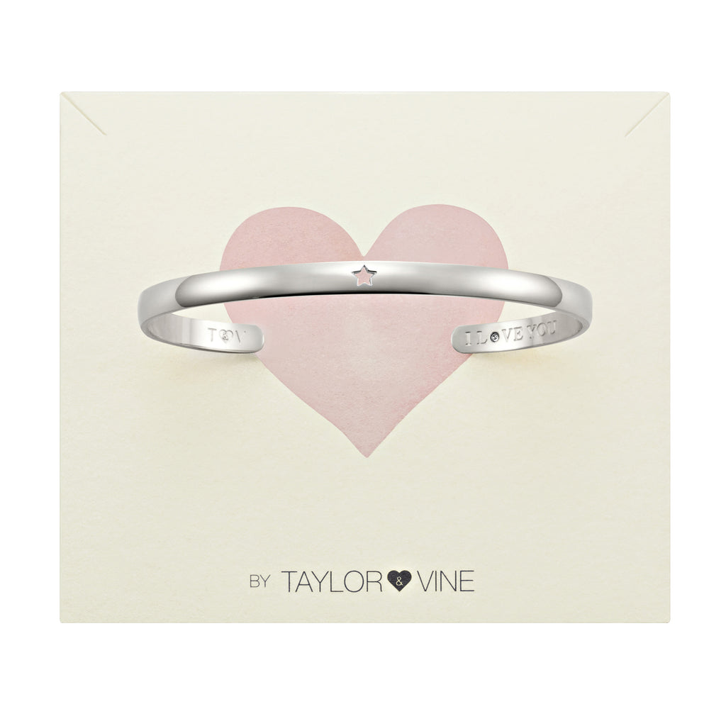 Secret Love Stone Star Bangle Engraved I Love You