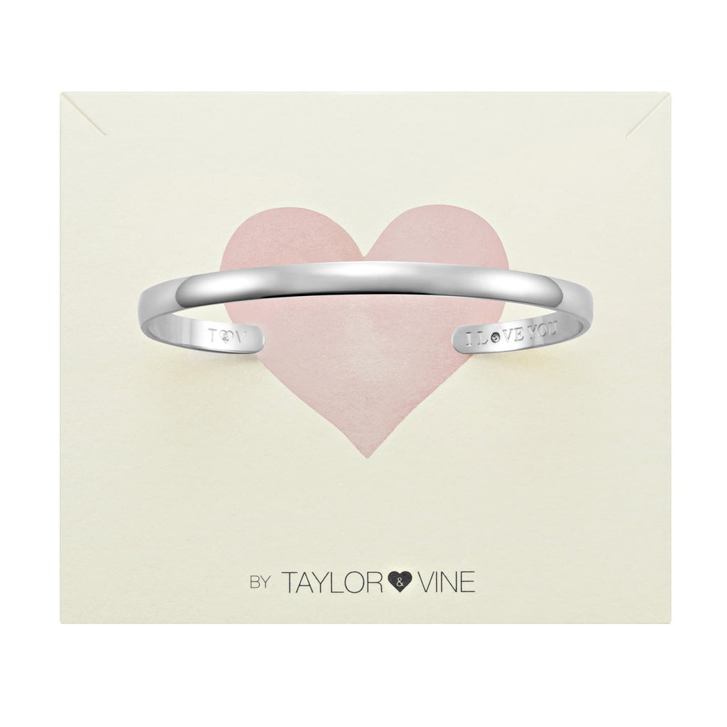 Secret Love Stone Bangle Engraved I Love You