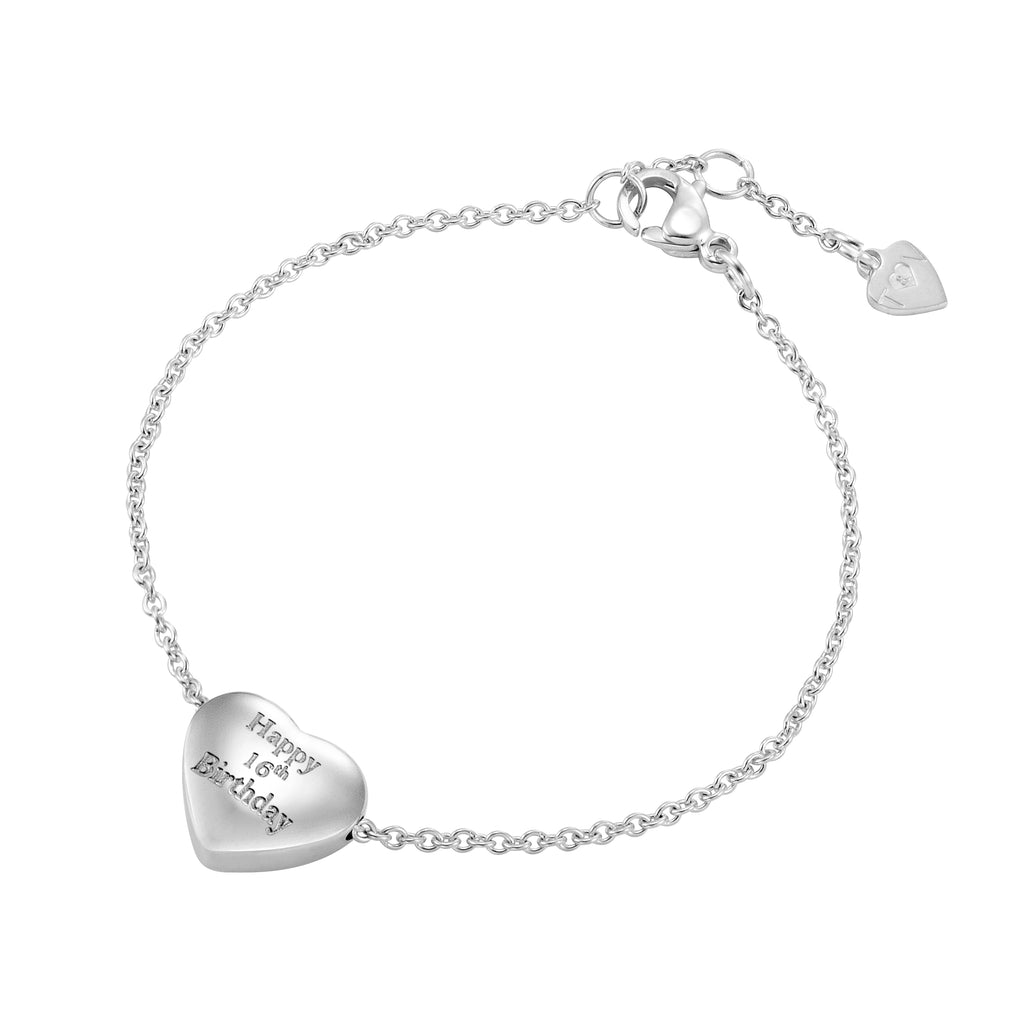 Taylor and Vine Silver Heart Pendant Bracelet Engraved Happy 16th Birthday 16
