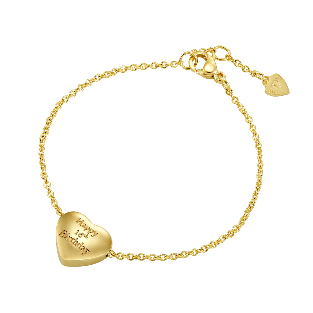 Taylor and Vine Gold Heart Pendant Bracelet Engraved Happy 16th Birthday 16