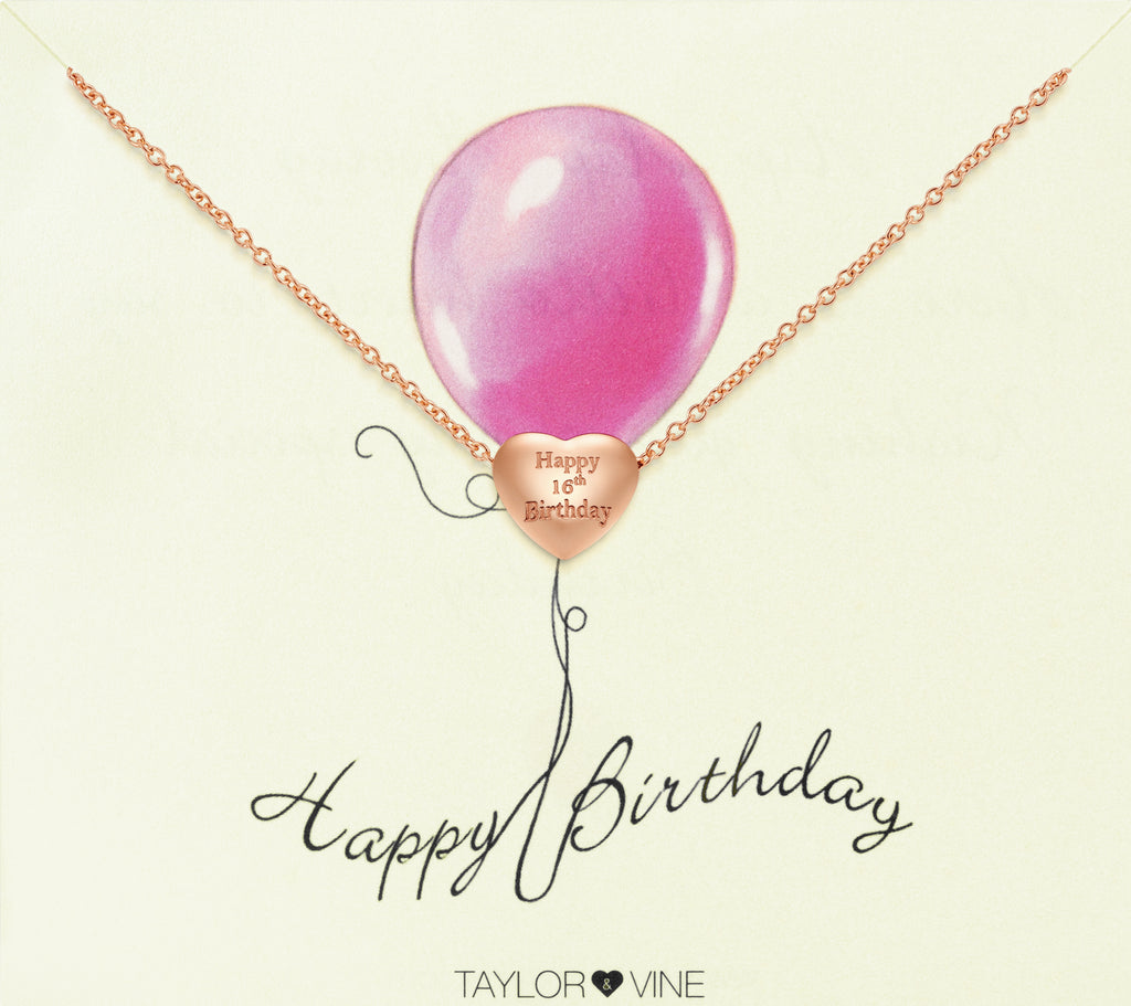 Taylor and Vine Rose Gold Heart Pendant Bracelet Engraved Happy 16th Birthday 14