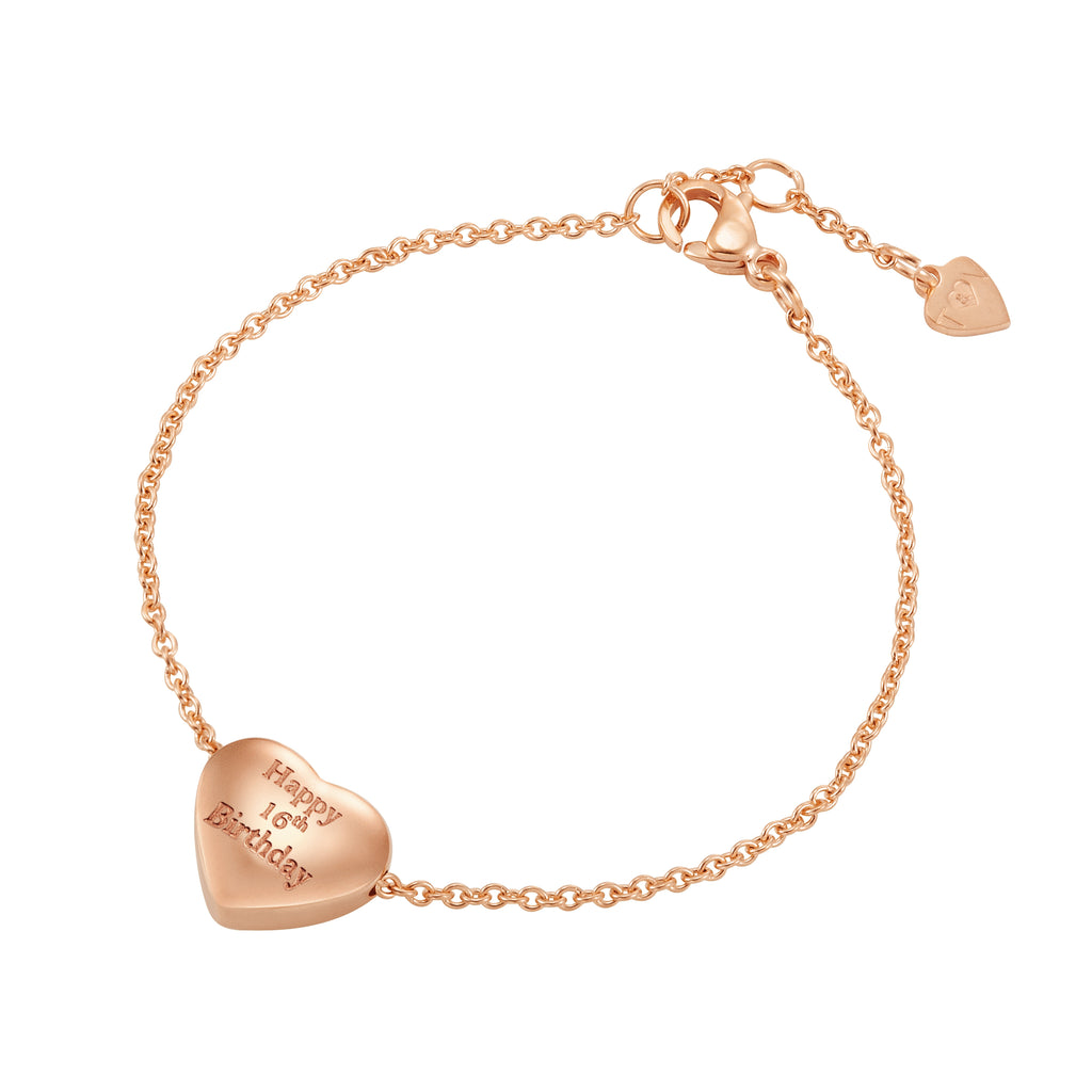 Taylor and Vine Rose Gold Heart Pendant Bracelet Engraved Happy 16th Birthday 16