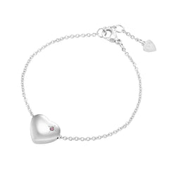 Happy Birthday Heart Pendant Bracelet Engraved 'Happy Birthday', Silver