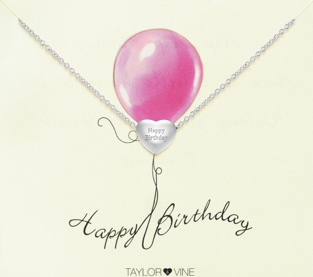 Taylor and Vine Silver Heart Pendant Bracelet Engraved Happy Birthday 14