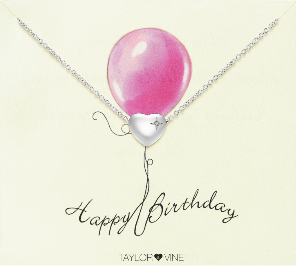 Taylor and Vine Silver Heart Pendant Bracelet Engraved Happy Birthday 15