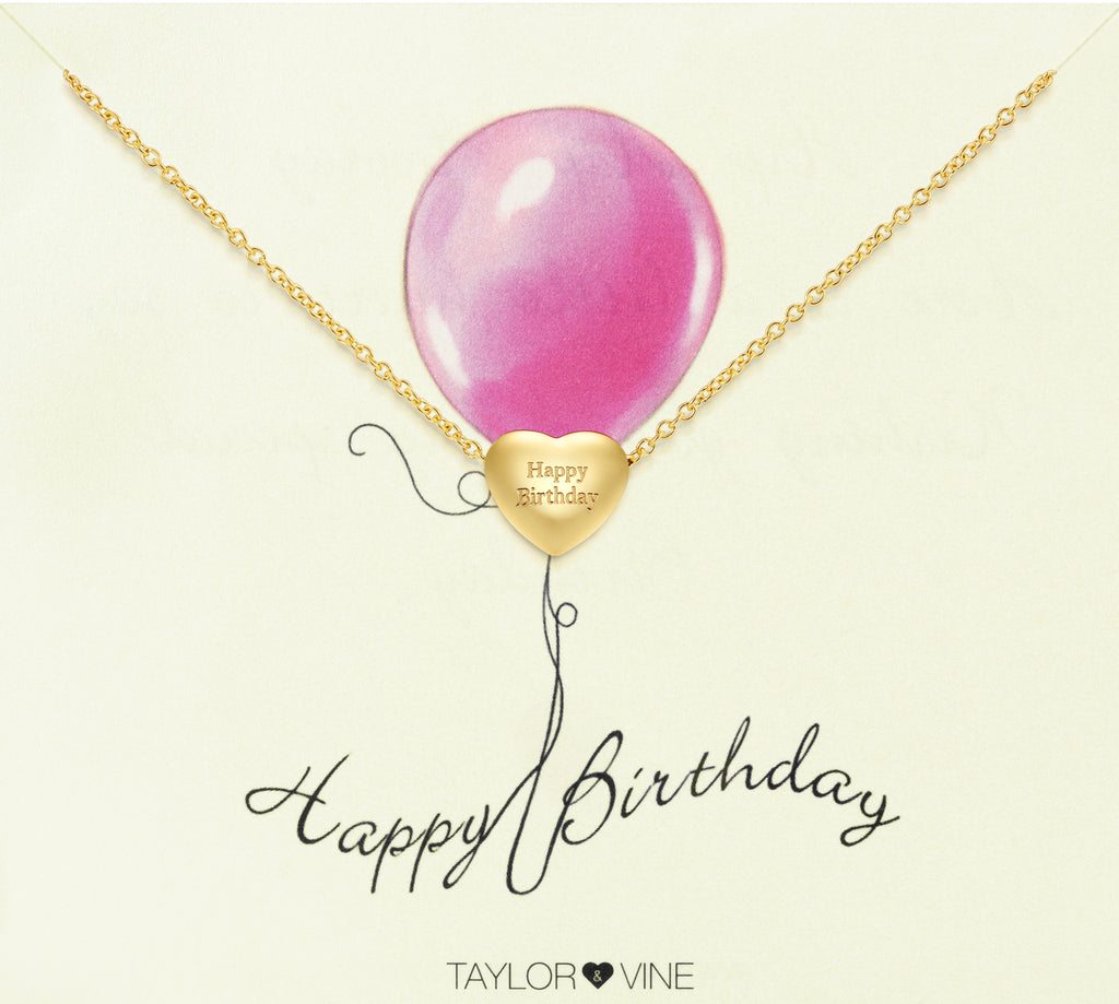 Taylor and Vine Gold Heart Pendant Bracelet Engraved Happy Birthday 14