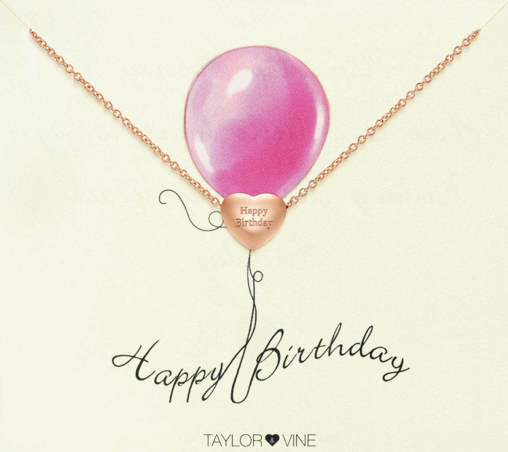 Taylor and Vine Rose Gold Heart Pendant Bracelet Engraved Happy Birthday 14
