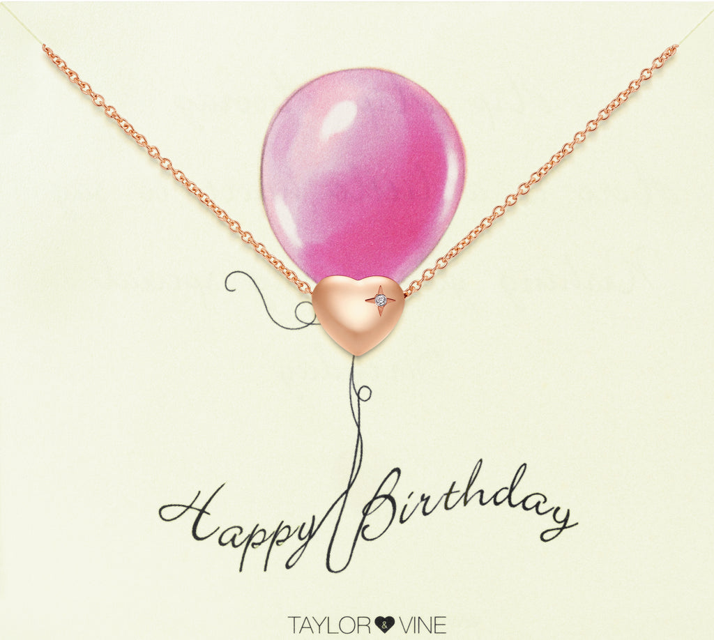 Taylor and Vine Rose Gold Heart Pendant Bracelet Engraved Happy Birthday 15