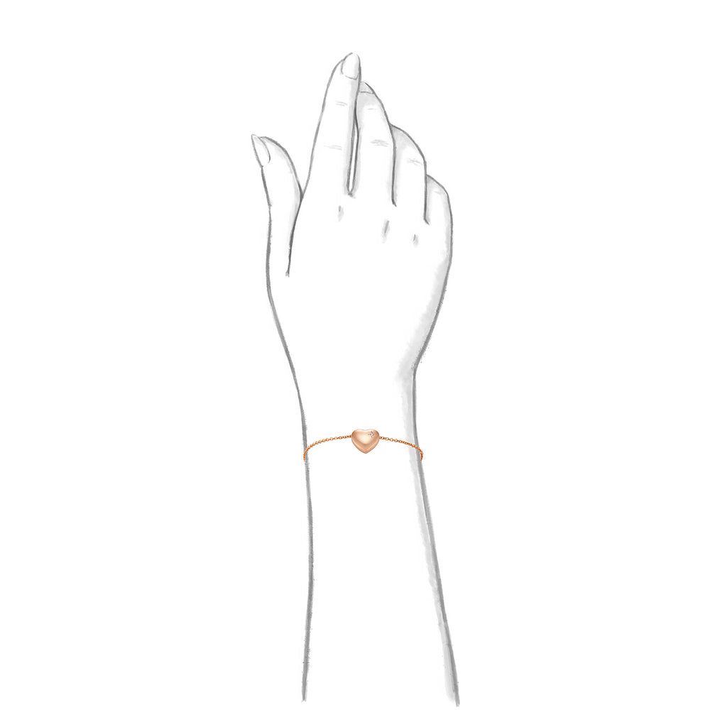 Taylor and Vine Rose Gold Heart Pendant Bracelet Engraved Happy Birthday 18