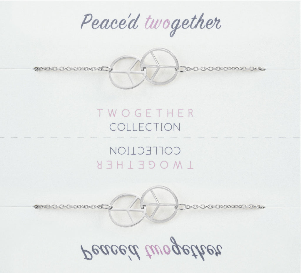 Friendship Peace Pendant Bracelet with Two Bracelets, One to Keep & One to Give