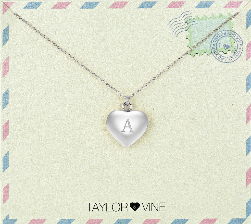 Taylor and Vine Love Letter A Heart Pendant Silver Necklace Engraved I Love You