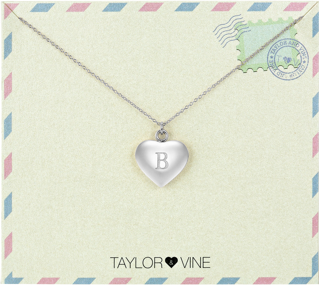 Taylor and Vine Love Letter B Heart Pendant Silver Necklace Engraved I Love You