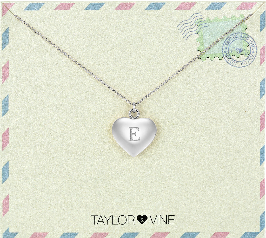 Taylor and Vine Love Letter E Heart Pendant Silver Necklace Engraved I Love You