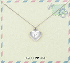 Taylor and Vine Love Letter F Heart Pendant Silver Necklace Engraved I Love You