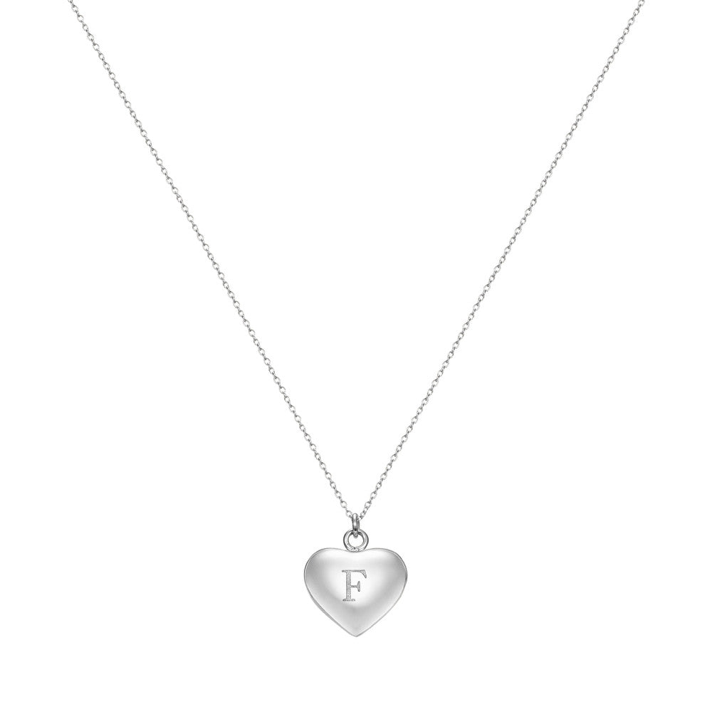 Taylor and Vine Love Letter F Heart Pendant Silver Necklace Engraved I Love You 1
