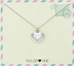 Taylor and Vine Love Letter G Heart Pendant Silver Necklace Engraved I Love You
