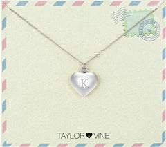 Taylor and Vine Love Letter K Heart Pendant Silver Necklace Engraved I Love You