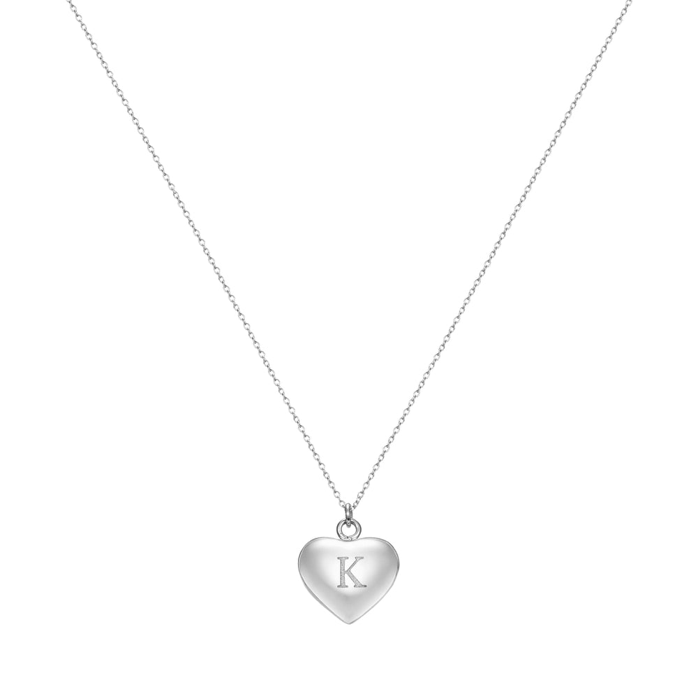 Taylor and Vine Love Letter K Heart Pendant Silver Necklace Engraved I Love You 1