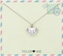 Taylor and Vine Love Letter M Heart Pendant Silver Necklace Engraved I Love You