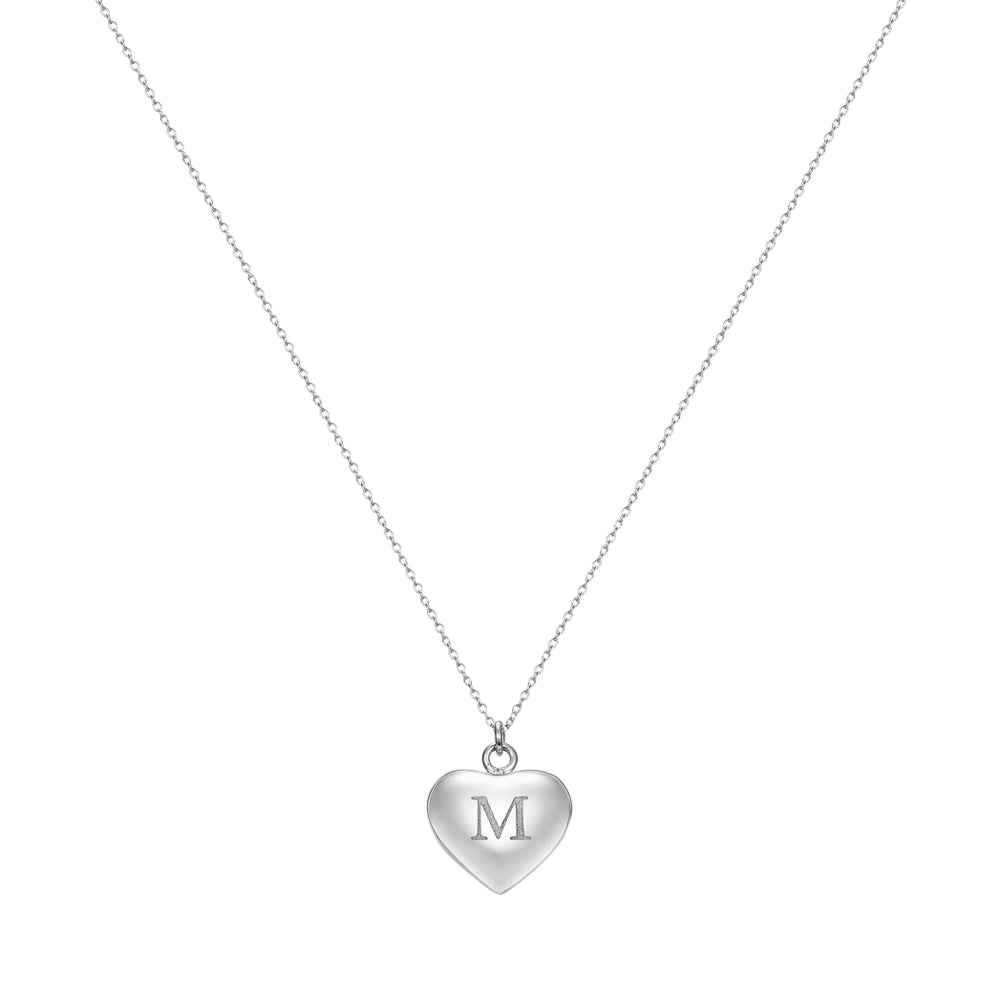 Taylor and Vine Love Letter M Heart Pendant Silver Necklace Engraved I Love You 1