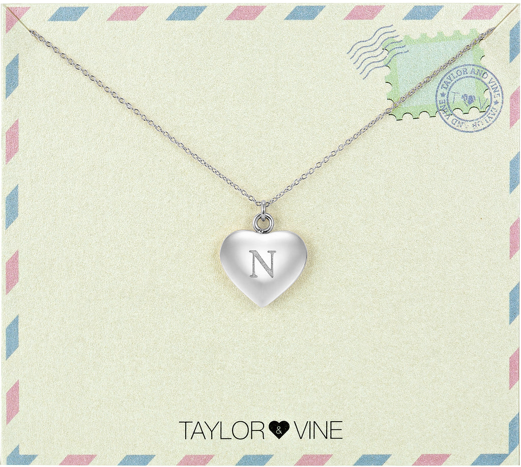 Taylor and Vine Love Letter N Heart Pendant Silver Necklace Engraved I Love You