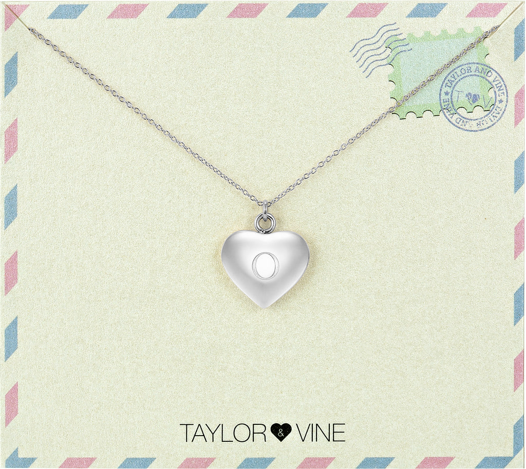 Taylor and Vine Love Letter O Heart Pendant Silver Necklace Engraved I Love You
