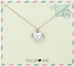 Taylor and Vine Love Letter R Heart Pendant Silver Necklace Engraved I Love You