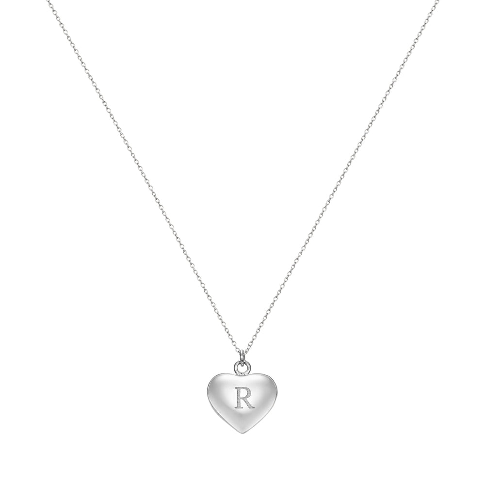Taylor and Vine Love Letter R Heart Pendant Silver Necklace Engraved I Love You 1