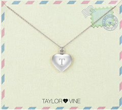 Taylor and Vine Love Letter T Heart Pendant Silver Necklace Engraved I Love You